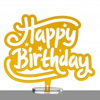 Happy Birthday - Outline | Tortentopper & Aufsteller